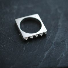 Minicyn studded Maison square solid silver ring by Minicyn on Etsy