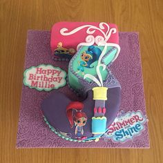 "15 Likes, 1 Comments - Hmmm...Cake! (@hmmmcake) on Instagram: ""Number 3 Shimmer and Shine themed birthday cake. #hmmmcake #cake #cakes #numbercake #birthdaycake…"""