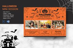 Halloween Photography Mini Session Template | Printable Halloween marketing board | Photoshop & MS Word template | instant download Halloween Mini Session, Photography Mini Sessions, Photo Folder, Halloween Photography, Print Release, Photography Marketing, Party Flyer, The Help