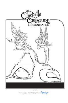 Coloriage Clochette et Noa sur la Créature Légendaire