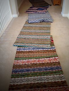 Quiet Friday: Five Rosepath Rag Rugs – Warped for Good Weaving Tools, Loom Weaving, Hand Weaving, Paisley Fabric, Fabric Rug, Chiffon, Fabric Strips, Tear, Weaving Patterns