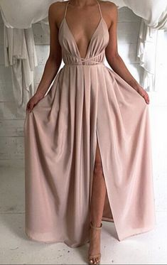 Deep V Neck Long Chiffon Prom Dress With Open Back Blush Pink Evening Dresses For Women Party on Luulla