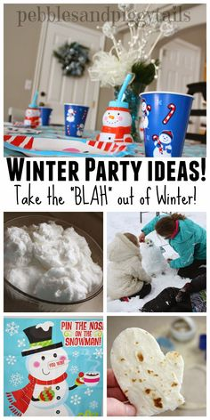 "WINTER PARTY FOR KIDS--Take the ""blah"" and boredom out of January and winter cold.  Easy winter party ideas to DIY at home with your children. Simple and realistic party ideas"