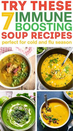 Fill up with immune boosting soups to help your body stay healthy during cold and flu season These soups have beneficial ingredients to boost your immune system and help you feel good soup souping healthyrecipe immuneboosting coldfighting Best Healthy Soup Recipe, Healthy Soup Recipes, Vegan Recipes, Vitamix Recipes, Detox Recipes, Healthy Drinks, Easy Recipes, Eat When Sick, Ramen