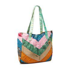 UPCYCLED SARI CHEVRON BAG | recycled sari accessories, tote bag | UncommonGoods $35