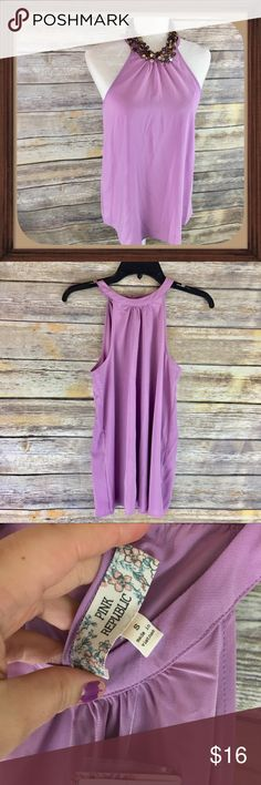 Pink Republic High Halter Top Chiffon Top Size S Light purple high halter top style chiffon top. Size small. New with tags. 27 inches long. 18 inches arm pit to arm pit Pink Republic Tops Blouses