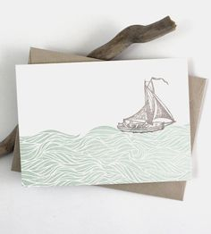 Sailboat Letterpress Note Card Set   Before social media, there was the greeting card. Say hi the o...   Greeting Cards