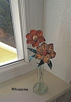 """FRANCINE BRICOLE : fleurs ocres et dorées """"capsules café recyclées"""" d..."""