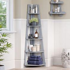 Bathroom Ladder Shelf, Corner Ladder Shelf, Ladder Shelf Decor, Corner Shelf Design, Small Bathroom Shelves, Small Bathrooms, Corner Bathroom Storage, Bathroom Standing Shelf, Corner Storage Shelves