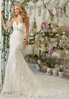 Wedding Dresses and Bridal Gowns by Morilee designed by Madeline Gardner. Crystal Beading on Laser Cut Embroidered Appliques on Net Mori Lee Bridal Wedding Dress Over Soft Satin Mori Lee Bridal, Mori Lee Wedding Dress, Fit And Flare Wedding Dress, Bridal Wedding Dresses, Wedding Dress Styles, Bridesmaid Dresses, Tulle Wedding, Prom Dresses, Backless Wedding