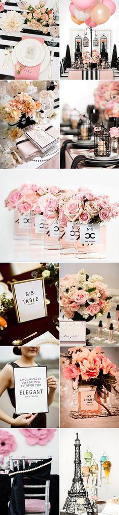 Décoration de mariage rose, noir et doré