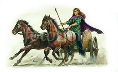 Boudicca in her chariot, by unknown [x]