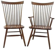 Amish Buckeye Straight Back Chair With a birdcage-like back, the perfect spindles of the Buckeye offer support. Quality solid wood dining chairs handcrafted by the Amish in your choice of wood and finish at DutchCrafters. #diningchairs #Windsorstyle