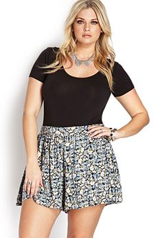 Forever 21- A pair of flowy shorts featuring a floral print. Banded waist with elasticized trim. Finished trim. Unlined. Woven. Lightweight. Garden Party Flow Shorts