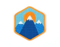 3 Mountain Iron On Patch