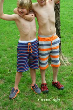 Instant Download GreenStyle Hampton Shorts Pattern and Tutorial for Boys or Girls 2-14 years in Comfy Knit
