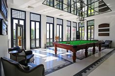 The bright snooker room at the Siam Hotel in Bangkok Thailand takes its inspiration from the Art Deco era. [2048  1365]