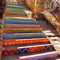 fun colors on outdoor cement stairs