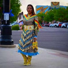 Moccs on concrete. Jingle dress on sidewalk Native American Dress, Native American Regalia, Native American Beauty, Jingle Dress Dancer, Powwow Regalia, Native Wears, Ribbon Skirts, Cape Dress, Dance Outfits