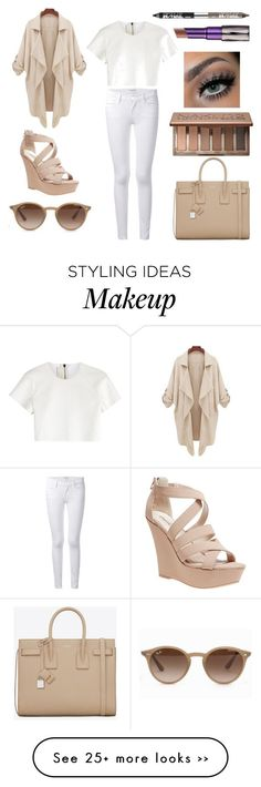 """Beige Baby"" by natashavujevic on Polyvore featuring мода, Yves Saint Laurent, Frame Denim, Neil Barrett, Wet Seal, Ray-Ban, Urban Decay и prettyinbeige"