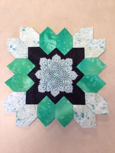Lucy Boston (POTC/Patchwork of the Crosses) quilt block made with English paper piecing.  By Tracy Pierceall--2014