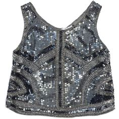 Pre-owned Parker Gunmetal Sequin Silk Tank ($89) ❤ liked on Polyvore featuring tops, silk tank, sequin top, sequin tank top, sequin tank and silk tank top
