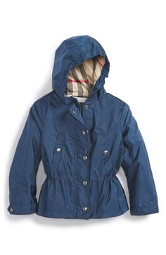 Burberry 'Gia' Hooded Showerproof Jacket (Baby Girls) available at #Nordstrom