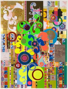 BEATRIZ MILHAZES  Yogurt, 2008  Mixed media collage on paper  73 X 55 1/2 inches