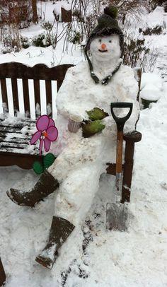 Bonhomme de neige assis