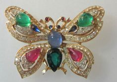 Trifari Crown Signed Jewels of India Butterfly Brooch | eBay