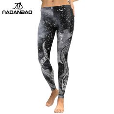 caf6b058ea427 Women Galaxy Space Legging Digital Print Slim Elastic Plus Size Pants Legins