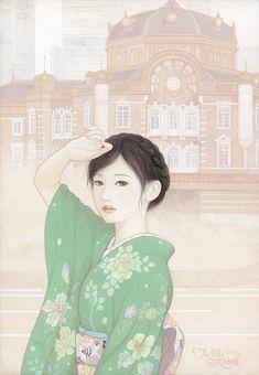 「夏の行方(なつのゆくえ)」(2015年 和紙(雲肌麻紙)、ガッシュ)加藤美紀