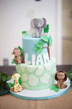 Picture result for baby safari birthday cake cake decorating recipes kuchen kindergeburtstag cakes ideas Safari Birthday Cakes, Jungle Theme Cakes, 1st Bday Cake, Boys First Birthday Cake, Jungle Theme Birthday, Safari Cakes, Birthday Cupcakes, Birthday Cake For Kids, Modern Birthday Cakes