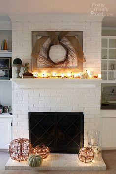 I love the look of white painted brick - wish I could convince Haze to do this in the basement!