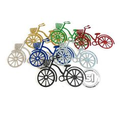 Glitter Bicycle Cut-outs Embellishments Choose Your Colors Cut Outs, Craft Supplies, Embellishments, Card Making, Bicycle, Glitter, Charmed, Colors, Cards