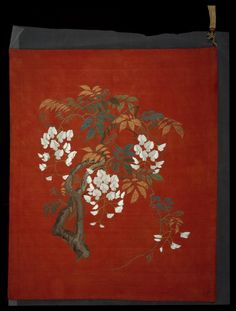 Red silk crepe fukusa (gift cover) with embroidered design of wisteria in coloured silks and gold thread: Japanese, mid-Meiji era, 1884 - 1899