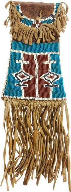 Kiowa Beaded Hide Strike-A-Light Bag, c. Native American Regalia, Native American Artifacts, Native American Beadwork, Sioux, Native Indian, Native Art, Cherokee, Native American Pictures, Indian Crafts