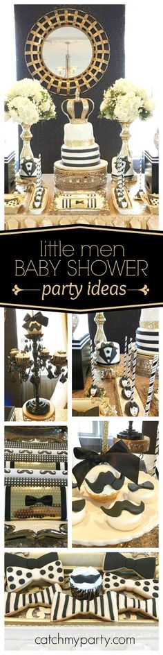 You don't want to miss this super 'Little Men' Baby Shower. The gold and black dessert table is stunning!! See more party ideas and share yours at CatchMyParty.com