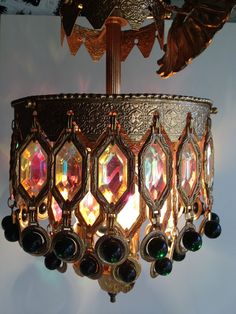 Items similar to 1967 Mid Century Art Deco Morrocan Revival Gold With Green and Irridecent Crystal Chandelier on Etsy Chandeliers, Chandelier Lighting, Gold Chandelier, Lamp Light, Light Up, Light Fixture, Moroccan Decor, Moroccan Style, Moroccan Bedroom