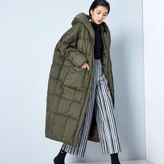 Cheap jacket down, Buy Quality jacket jacket directly from China jacket white Suppliers: New Arrival Winter 2016 women casual loose cocoon coat thick x long hooded white duck down jacket Winter Jackets Women, Coats For Women, Clothes For Women, Down Parka, Down Coat, Duck Down Jacket, Parka Style, Oversized Coat, New Fashion