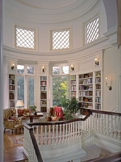 I love this room! I want interior design like this on my home. The room shape is amazing. And the windows are perfect! It feels royal! Home Libraries, House Goals, Dream Rooms, Style At Home, My Dream Home, Home Interior Design, Living Room Interior, Interior Paint, Interior Decorating