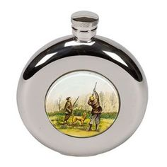 Bisley Round Shooting Flask New design Stainless steel with flat base and shooting design In presentation box with