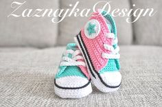Pink/Mint Crochet baby sneakers