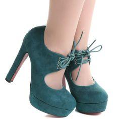 Zapatos de tacón verdes estilo Pin Up