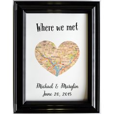 Personalized Map Location Place of Where We Met Engagement Gift Art... ($20) ❤ liked on Polyvore featuring home, home decor, wall art, black, gifts & mementos, guest books, weddings, personalized home decor, black wall art and personalized wall art