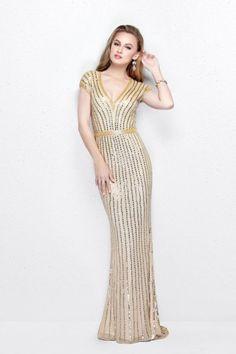 b7d5da6501a Primavera Couture - V-Neck Sequined Evening Gown 1709