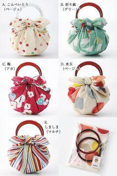 ) Strawberry bag cotton Furoshiki Easy to redo, with a fabric (?) Furoshiki cotton bag cm) and ring set Furoshiki Bag, Furoshiki Wrapping, Wooden Handle Bag, Japanese Wrapping, Japanese Knot Bag, Japanese Bags, Handbag Tutorial, Origami Bag, Diy Sac