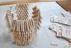 Young House Love | Summer Pinterest Challenge: How To Make A Clothespin Chandelier | http://www.younghouselove.com