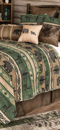 Mountain Wildlife Rustic Bedding | Bands of wildlife in warm earth tones add woodland appeal to this lightweight microfiber bedding, giving your room a stylish lodge update. Sets include quilt, one sham and one accent pillow.
