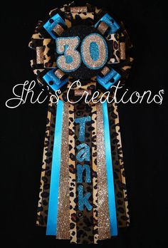 Tank's 30th Birthday pin/mum/corsage in cheetah, black, turquoise, and champagne #JhisCreations